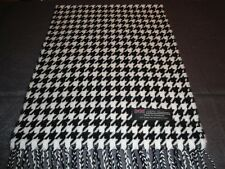 100% Cashmere Scarf Soft 72X12 White Black HoundsTooth Scotland Wool Women Wrap