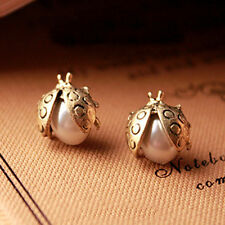 1 Pair Women Plated  Flying Ladybird Ladybug Pearl Ear Stud Earrings