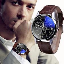 De Lujo Moda Sintético Reloj Hombre Piel Azul Rayo Vidrio Cuarzo Analogico