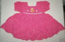 NEW Boutique Bubble Gum Pink Frilly Crocheted Baby Dress   *** HAND MADE ***