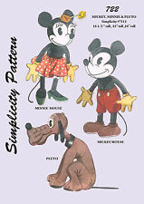 Vintage Mickey, Minnie Mouse & Pluto Stuffed Doll Sewing pattern-Simplicity 7111
