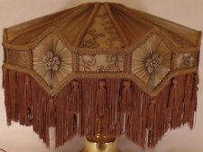 Poly-Blend Fabric Mocha Brown Victorian Floor Lamp Shade w/ Fringe, Tassels 807A