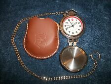 Swiss Army Travel Alarm Pocket Watch w Leather Case & Chain Alarm not working