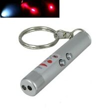 Portable 2in1 Mini Compact Red Laser Pointer LED Torch with Key Ring