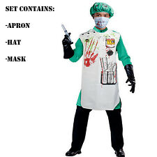 Halloween Zombie Doctor Set Bloody Apron & Hat Fancy Dress Set Kit Blood Stained