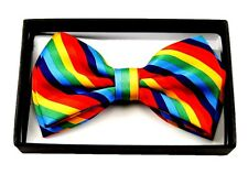 UNISEX GAY PRIDE RAINBOW SWIRLS STRIPED STRIPES ADJUSTABLE BOW TIE BOWTIE-NEW