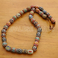 "UNS04 Nepalese Artisan Chevron Glass Beads Necklace 27"" from Nepal by Eksha"