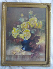 Vintage Floral Watercolor Still Life Yellow Roses Gold Gesso Frame Myra B. Kerns