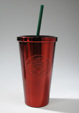 Starbucks 16 oz Metallic Red Stainless Steel To Go Cup Cold Tumbler w/Straw New