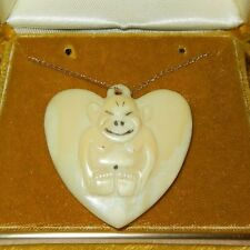 Vintage BILLIKEN CARVED HEART GOOD LUCK CHARM PENDANT 14K Gold Necklace