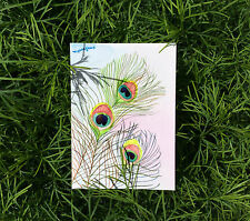 ACEO ORIGINAL WATERCOLOR- Feathers, Peacock painting, Gift for bird lover