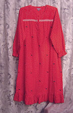 SCOTTIE DOG LONG SOFT SMOCKED 100% COTTON RUFFLE FLANNEL NIGHTGOWN GOWN~M~L