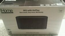 NEW & SEALED!  iHOME iW2 AIRPLAY WIRELESS STEREO SPEAKER SYSTEM (BLACK)