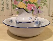 Antique Vintage French Enameled JAPY Wash Basin Bowl & Matching Pitcher