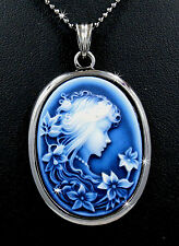 """New Royal Blue Victorian Style Lady Cameo Pendant 17"""" Chain Necklace"""