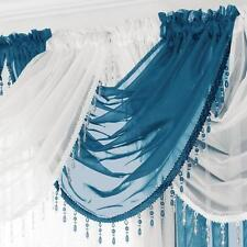 GEMMA BEADED FRINGE ROUND VOILE SWAG SWAGS x1 Drape Pelmet Curtain Valance