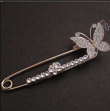 new arrival butterfly crystal Sparkly Bridal /Wedding long Brooch Pin present