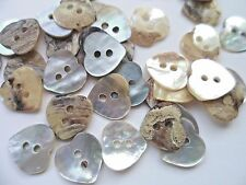 70pcs Buttons Mother of Pearl Heart  Holes Shell Sewing 11mm