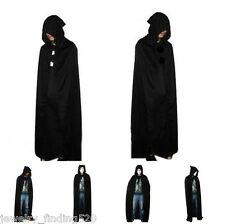 Hooded Cape Adult Unisex Long Cloak Black Halloween Costume Dress Coats