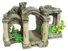 Roman Pavilion & Plants Ancient Ruin Aquarium Ornament Fish Tank Decoration