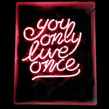 """17""""x14"""" YOU ONLY LIVE ONCE Custom REAL GLASS NEON LIGHT DISPLAY SIGN PINK"""