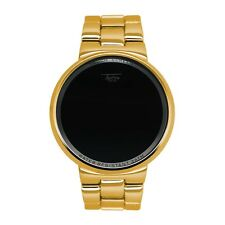 Techno Pave Gold Plated Digital Touch Screen Sport Designer Metal Band Watch