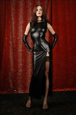 Sexy Black PVC Leather Teddy Long Dress Exotic Dancer Party Clubwear Costume Hot