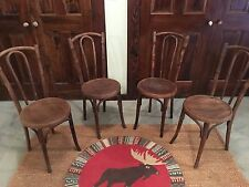 Four Vintage Antique Bentwood Ice Cream Parlor Chairs with table.