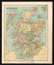 1850 Antique Map SCOTLAND SHETLAND & ORKNEY Islands Victorian Map by Phillips