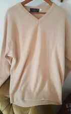 Mens 100% Mount Cashmere SWEATER Pullover TAN Large V NECK Career Summer Weight