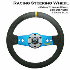 330MM Deep Dish Suede Leather Racing Sports Steering Wheel Fit Sparco Boss Kit