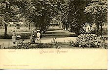 Gruss aus Pyrmont-Greetings From-Pretty Path-Ladies-Germany-Vintage Postcard