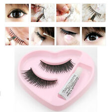 New 1 Pair Natural Thick False Eyelashes Extension Lashes + Glue Kit Makeup Set
