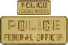 police federal officer 4x10 and 2x5 embroidery patch with   hook on back tan