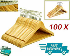 100 X WOODEN COAT HANGERS SUIT TROUSER GARMENTS CLOTHES COAT HANGER BAR NEW