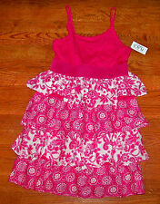 New! Girls THE CHILDREN'S PLACE Bright Pink Tiered Flower Dress Large 10 / 12