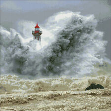 In the storm (Lighthouse  in the Porto)-Complete counted cross stitch kit (DMC)