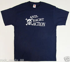 ANTI-RACIST ACTION T-shirt Skull Crossbones Fight Racism Tee Adult LARGE Navy