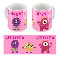 Personalised Printed Children's Kids Monsters Girls Any Name Mug Cup Gift Boxed