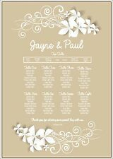 A3 Floral frame wedding seating / table plan made to order any cols -can do A2