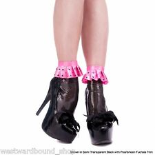 Rubber Latex Frilled Ankle Sock Burlesque GREAT GIFT 6-7  Trans Green/Black £47
