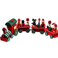 4 Pièces Bois Joyeux Noël Day Train Décoration Cadeau Noël jouet pour enfants