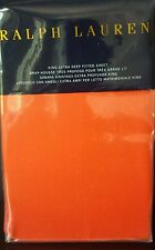 NIP Ralph Lauren King Fitted Sheet Equestrian Orange RL 464 Solid Percale NEW