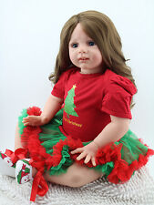 Reborn Toddler Baby Dolls 24'' Soft Vinyl Silicone Long Hair Doll Kids Xmas Gift