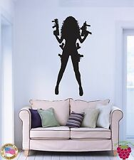 Wall Stickers Vinyl Decal Sexy Gangster Girl Mafia Weapons z1042