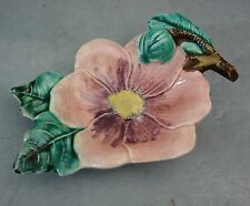 ANCIEN VIDE POCHE BARBOTINE FLEURS ANTIQUE FRENCH MAJOLICA COIN PIN DISH 1