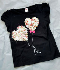 Girl Balloon Petal style,pink bow Black Tshirt 3 - 4 years old