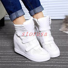 Punk Hidden Wedge Heel High Top Womens Sneakers Velcro Strap Sports Shoes Boots