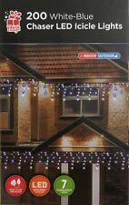 200 White & Blue Colour Chaser Icicle LED Light Indoor Outdoor Christmas Light