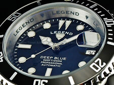 Legend Men Submariner Deep Blue Auto Sapphitek MidNight Black Dial SS Watch